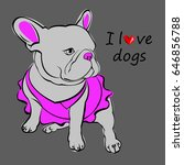 french bulldog background.... | Shutterstock .eps vector #646856788