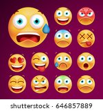 set of cute emoticons on black... | Shutterstock .eps vector #646857889