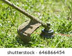 string trimmer in action   Shutterstock . vector #646866454