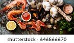 seafood with fresh raw mussels  ... | Shutterstock . vector #646866670