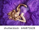 girl in violet dress | Shutterstock . vector #646872628