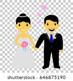 cute international bride couple | Shutterstock .eps vector #646875190