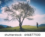 man under big lonely tree in a... | Shutterstock . vector #646877530