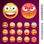 set of cute emoticons on black... | Shutterstock .eps vector #646880800