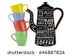 coffee pot blackboard with... | Shutterstock . vector #646887826