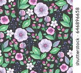 seamless pattern with purple... | Shutterstock .eps vector #646896658