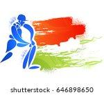 blue cricket batsman symbol on... | Shutterstock .eps vector #646898650