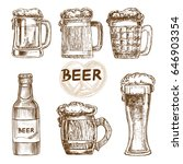 hand drawn set beer on a white... | Shutterstock .eps vector #646903354