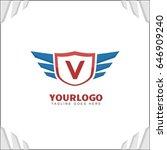 v letter brand identity. falcon ... | Shutterstock .eps vector #646909240