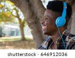 young man with headphones...   Shutterstock . vector #646912036