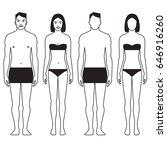 set of standing men and women... | Shutterstock .eps vector #646916260
