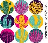 cute cactus. big polka dot.... | Shutterstock .eps vector #646924654