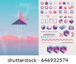 Large collection of trendy holographic, geometric, colorful abstract shapes and decorative lines in pink, purple and blue color hues | Shutterstock vector #646932574