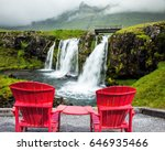 Red Paired Chaise Lounges For...