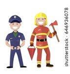policeman and fireman. colored... | Shutterstock .eps vector #646936078