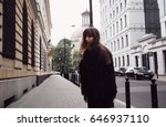 fashion model in street.... | Shutterstock . vector #646937110
