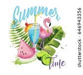 exotic summer composition.  | Shutterstock .eps vector #646943356
