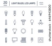 light bulbs flat line icons.... | Shutterstock .eps vector #646943800