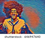 art portrait of an afro man | Shutterstock . vector #646947640