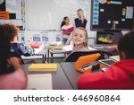portrait of smiling schoolgirl... | Shutterstock . vector #646960864