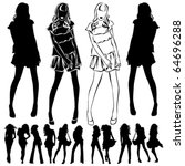 a lot of vector silhouettes of... | Shutterstock .eps vector #64696288