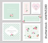 wedding card templates set.... | Shutterstock .eps vector #646965280