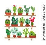 big set of cute cartoon cactus... | Shutterstock .eps vector #646967680