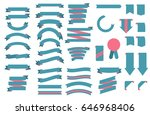 retro blue ribbons with pink... | Shutterstock .eps vector #646968406