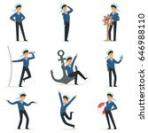 sailor character doing his job... | Shutterstock .eps vector #646988110