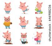 little cartoon pigs characters... | Shutterstock .eps vector #646988236