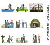 stateless refugees set. illigal ... | Shutterstock .eps vector #646988368