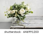Stock photo bridal vintage bouquet the bride s beautiful of mixed flowers and greenery decorated with silk 646991203