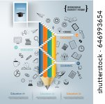 pencil staircase to success in... | Shutterstock .eps vector #646993654