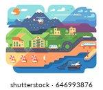 coastal resort town with sandy... | Shutterstock .eps vector #646993876