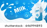 splashing milk with full milk... | Shutterstock .eps vector #646994893