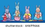 rabbits family with easter eggs ... | Shutterstock .eps vector #64699666