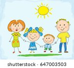 happy family  vector imitation... | Shutterstock .eps vector #647003503