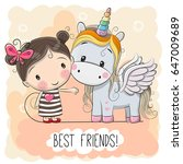 cute cartoon girl and unicorn... | Shutterstock .eps vector #647009689