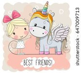 cute cartoon girl and unicorn... | Shutterstock .eps vector #647009713