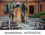 wooden chairs stand before... | Shutterstock . vector #647010214
