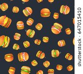 seamless pattern tasty burger... | Shutterstock .eps vector #647015410