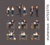large vector set of businessman ... | Shutterstock .eps vector #647015770