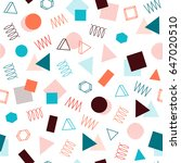 retro memphis geometric line... | Shutterstock .eps vector #647020510