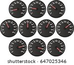 set of isolated speedometers | Shutterstock .eps vector #647025346