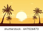 silhouette palm tree on beach... | Shutterstock .eps vector #647026873