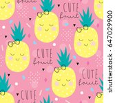 seamless pineapple pattern... | Shutterstock .eps vector #647029900