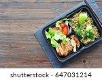noodles with chicken breast ... | Shutterstock . vector #647031214