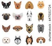 dog heads logo set. vector... | Shutterstock .eps vector #647031724