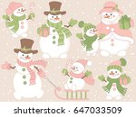 vector cute snowmen set on pink ... | Shutterstock .eps vector #647033509