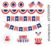 set of decoration for 4th of... | Shutterstock .eps vector #647035939